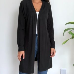 NWT Eileen Fisher Black Open Front Long Cardigan